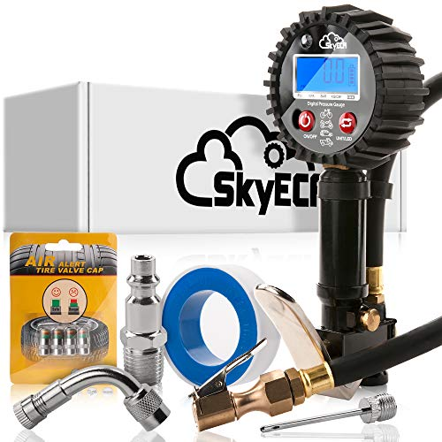 SkyEca Digital Tire inflator gauge for air compressor with smart valve caps for free, Black, Medium (Best Tire Inflator With Gauge)