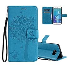 Galaxy S6 Edge Wallet Case Cover Embossed Flower Cat Wishing Tree Design Aeeque Shockproof Folio Flip Phone Cases Slim Fit Bumper Full Protection Cover Case for Samsung Galaxy S6 Edge, Sky Blue