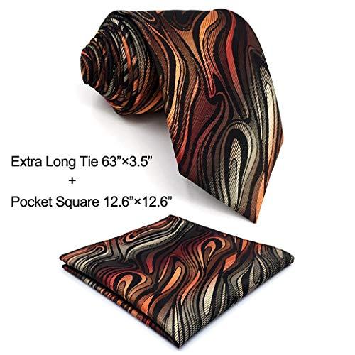 Shlax&Wing Geomeric Red Brown Black Mens Ties Silk Necktie New Design Skinny Long (Extra Long Necktie 63