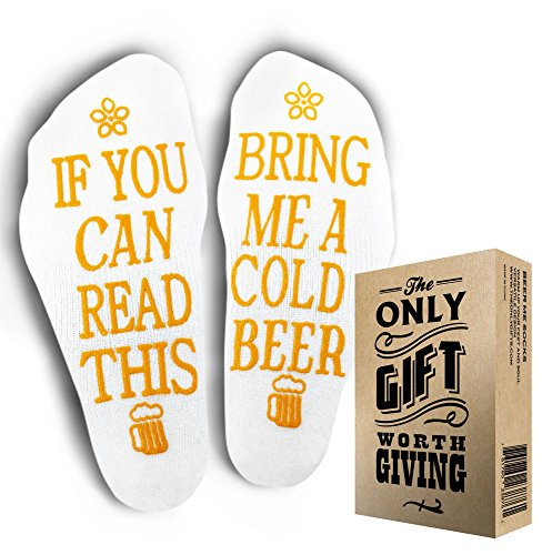 BEER SOCKS +Gift Box If you can read this bring me a cold beer by The Only Gift Worth Giving