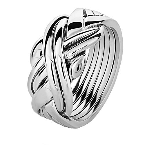 Sterling Silver Puzzle Ring 6SU - Size: 10