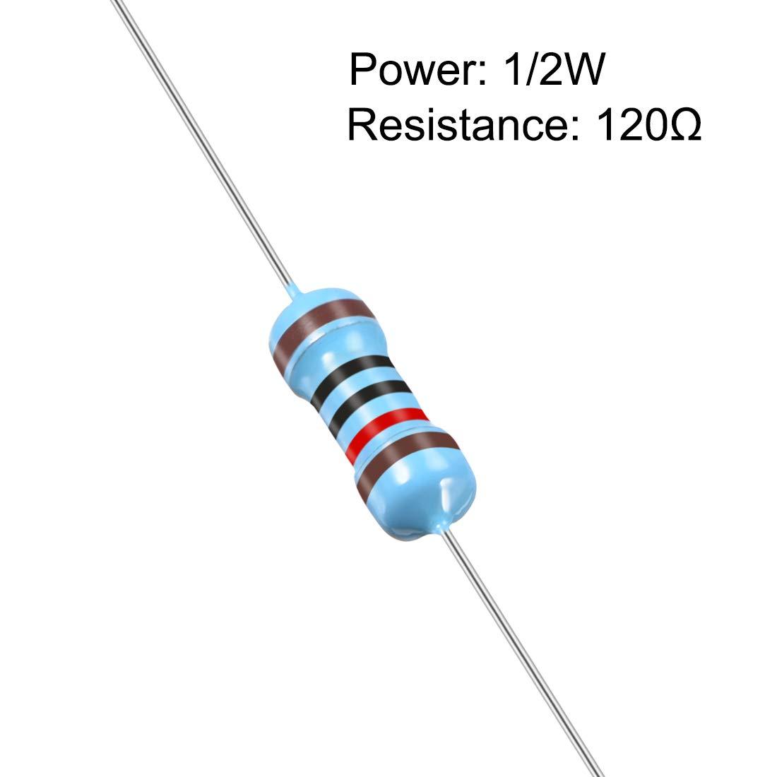 sourcing map 1//2W 120 Ohm Resistori a film metallico 0,5 W tolleranza 1/% 5 bande di colori 100 pz