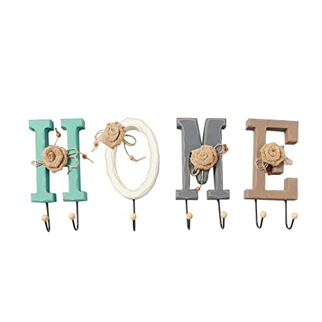 Amazon.com: Healifty English HOME Letters Coat Hat Hooks ...