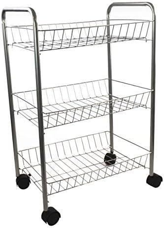 3 Tier Metal Kitchen Vegetable Fruit Storage Trolley Cart Drawer Rack Wheels UK