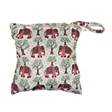 Baby Protable Nappy Reusable Washable Wet Dry Cloth Zipper Waterproof Diaper Bag with Elephant Pattern