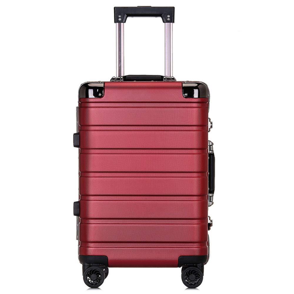 トロリーケースPCアルミフレームユニバーサルホイール荷物スーツケース男性と女性のビジネスパスワード20インチ屋外旅行搭乗 (Color : 赤, Size : 20 inch)   B07QYMH8BR