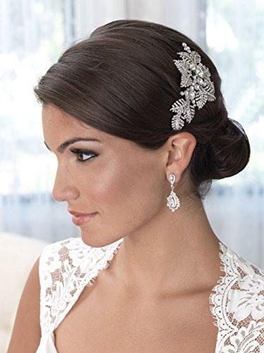 USABride Antique Floral Bridal Hair Comb with Rhinestones, Vintage Wedding Comb 2250