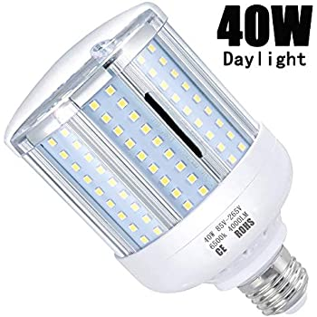 LED Corn Light Bulb 40W (280W Equivalent 4000 Lumen 6500k) Cool Daylight LED Lights E26/E27 Medium Base Aluminum Alloy High Heat Dissipation Light Bulb Suitable for Workplaces or Large Areas