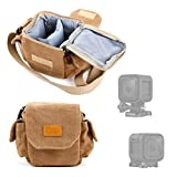 DURAGADGET Tan-Brown Small Sized Canvas Carry Bag for NEW GoPro Hero+ LCD - Hero4 Session Hero4 Session Surf Cameras - With Customizable Interior Compartment & Adjustable Shoulder Strap