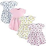 Luvable Friends Baby Cotton Dress, 4 Pack, Floral, 3-6 Months (6M)