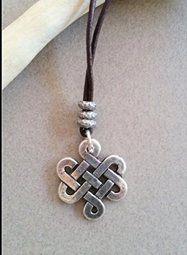 Celtic Knot Medallion Necklace, Infinity Pendant With Leather Neck Strap -