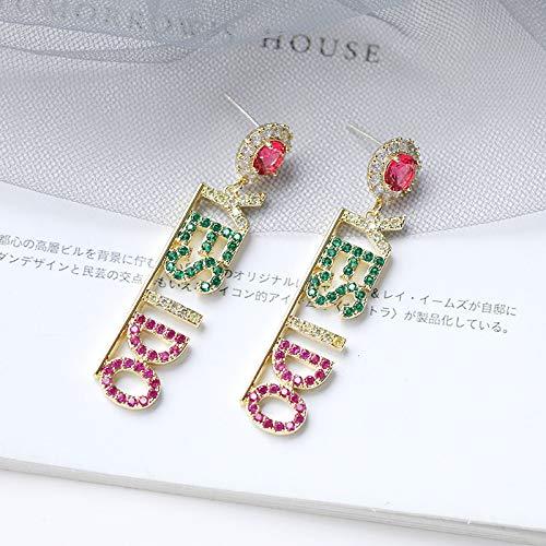 8d3a16734 ... TIMEE YES I DO 925 Sterling Silver Zircon Letters Crystal Drop Long  Dangle Pendant Earrings Wedding ...
