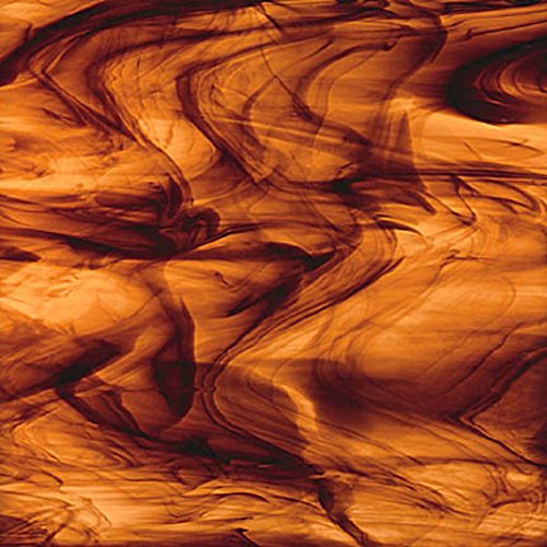 Streaky Glass - Spectrum Brown Gold Streaky Rootbeer Glass 12 x 12 Sheet 41115