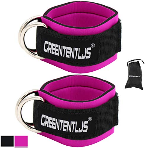 Greententljs Gym Ankle Straps for Cable Machines – Fitness Padded Ankle Cuffs Strap Attachment Workout for Glute…