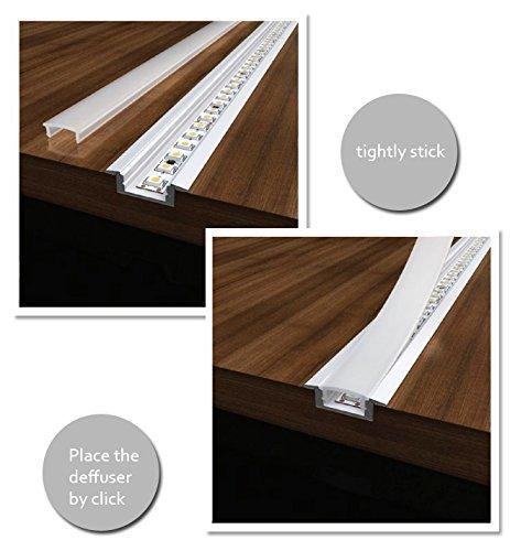 Aluminum Channel - LED Aluminum Extrusion 4101-100 U-shape for Flex/hard LED Strip Light White/milk Cover by Outline (Image #4)