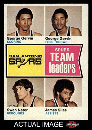 1974 Topps # 227 Spurs Leaders James Silas/Swen Nater/George Gervin San Antonio Spurs (Basketball Card) Dean's Cards 5 - EX Spurs
