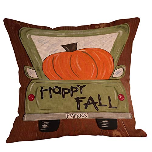 Halloween Decorations Pillows Case Pumpkin on Truck Pillowcases Thanksgiving Cushion Cover with Zipper 18 x 18 inch (13) -