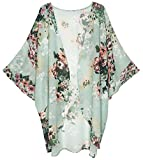 Finoceans Women Open Front Short Sleeve Cardigans Blouse Mint Green M