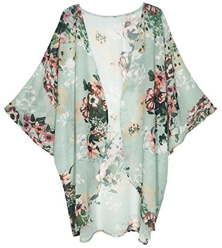 Finoceans Women Open Front Short Sleeve Cardigans Blouse Mint Green M by Finoceans