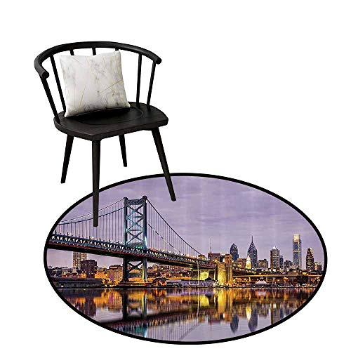 Multi-Pattern Round Rug Apartment Decor Collection Easy to Care Ben Franklin Bridge and Philadelphia Skyline Under Sunsets Reflections on Water Image Gray Ivory D31(80cm)