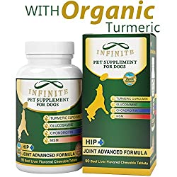 All-natural Hip & Joint Supplement For Dogs - With Glucosamine, Chondroitin, Msm, & Organic Turmeric - Supports Healthy Joints In Large & Small Canines - 90 Chewable Treats
