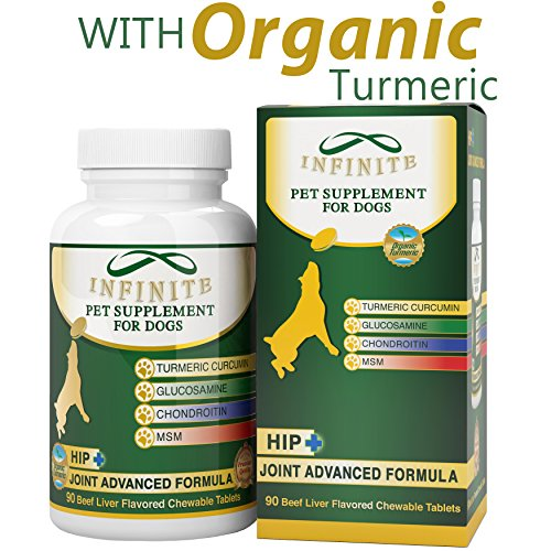 All-Natural Hip & Joint Supplement for Dogs - With Glucosamine, Chondroitin, MSM, and Organic Turmeric - Supports Healthy Joints in Large & Small Canines - 90 Chewable (Pooch Liver Treats)
