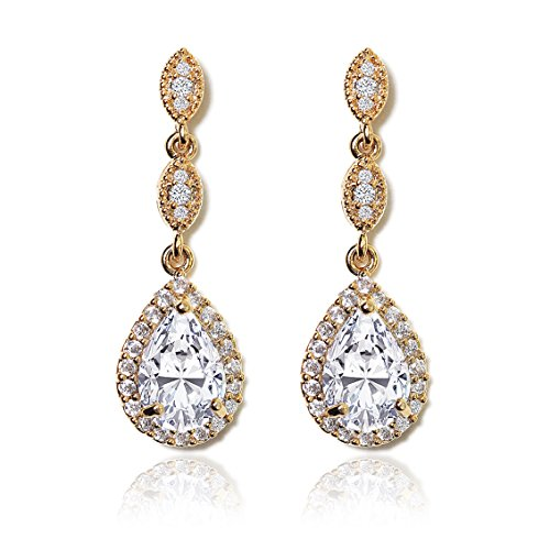 AMY O Elegant Teardrop Cubic Zirconia Crystal Earrings in Silver, Gold, Rose Gold
