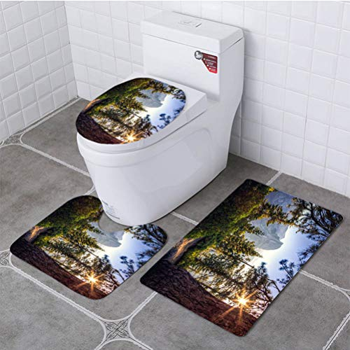 BEISISS Bathroom 3 Piece Set Sunrise on Half Dome in The Forest Soft Flannel Cloth Washable Toilet Seat Covers Toilet Lid Covers Cushions Pads Skid Proof ()