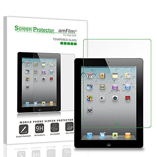 amFilm Glass Screen Protector for iPad 2, 3, 4 Tempered Glass