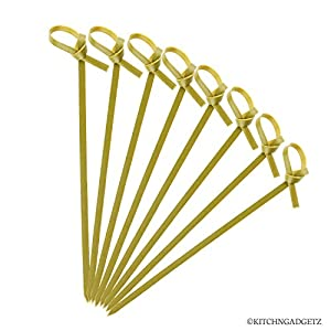 Bamboo Cocktail Picks – 300 Pack – 4.1 inch – With Looped Knot – Great for Cocktail Party or Barbeque Snacks, Club Sandwiches, etc. – Natural Bamboo – Keeps Ingredients Pinned Together – Stylish