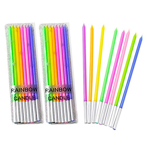 - GKanMore 24 Count Long Thin Birthday Candles in Holders Rainbow Cake Candles for Party Wedding Birthday Cake Decoration