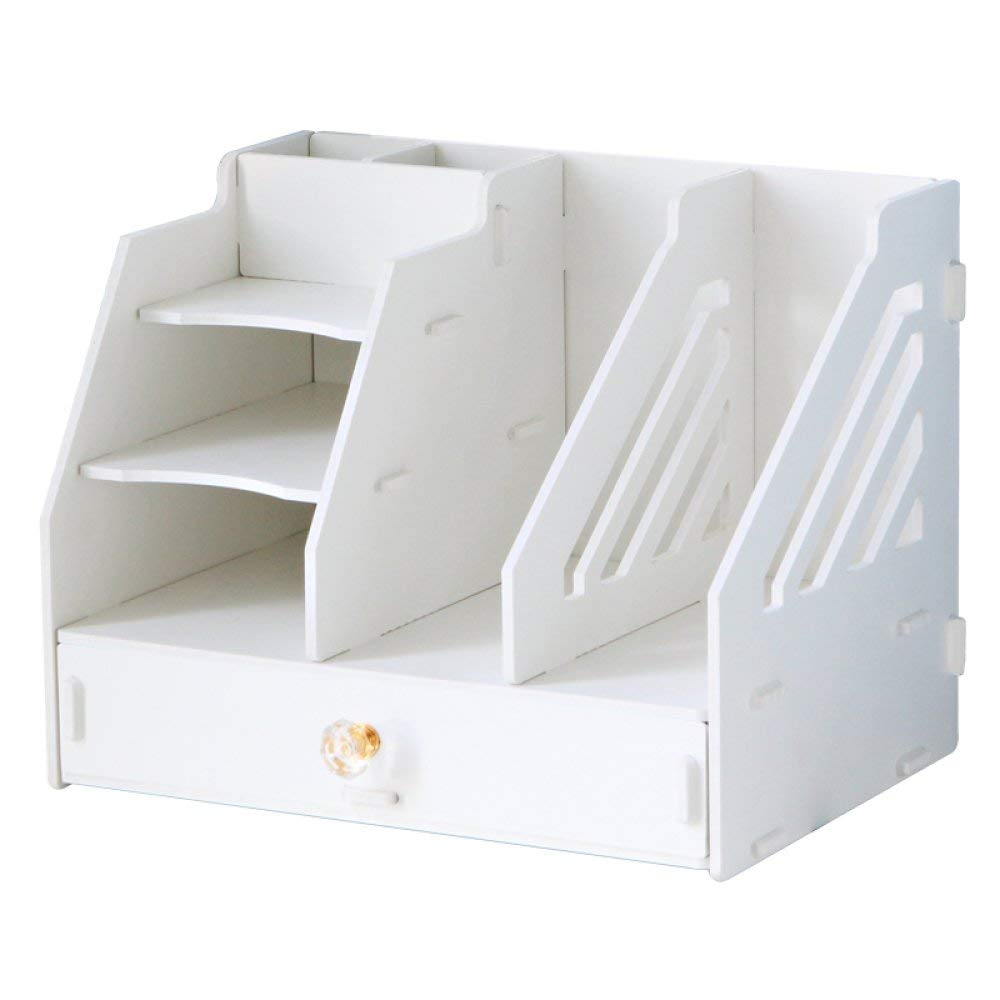 White Stylish Style Bookcase Office Supplies Desktop Drawer Organizer Document Holder Creative Student Book Stand Rack,White Laundry Storage Bucket Dirty Clothes (color   White)