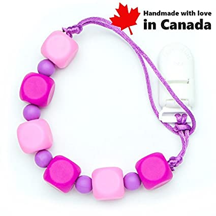 Pacifier Clip - Cubic (Pink) / High Teething Silicone Beads, Handmade in Canada Teething Toys Market