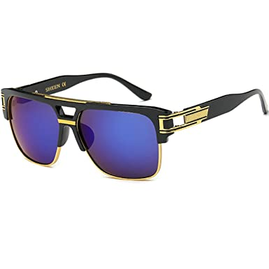 Retro Oversized Sonnenbrille Metall Rahmen großen brille Square herren damen Eyewear hälfte frame piloten Gold Transparente brille xAshPAC8