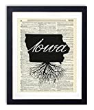 Iowa Home Grown Upcycled Vintage Dictionary Art Print 8x10