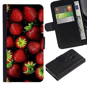 Be Good Phone Accessory // Caso del tirón Billetera de Cuero Titular de la tarjeta Carcasa Funda de Protección para Samsung Galaxy S3 MINI NOT REGULAR! I8190 I8190N // Strawberry