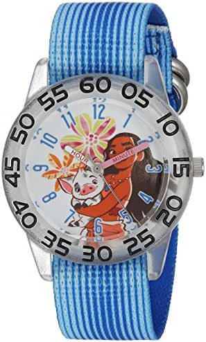 Disney Girl's 'Moana' Quartz Plastic and Nylon Casual Watch, Color:Blue (Model: WDS000044)
