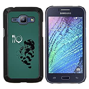 KLONGSHOP // Cubierta de piel con cierre a presión Shell trasero duro de goma Protección Caso - Divertido Mc Ilustración - Samsung Galaxy J1 J100 //
