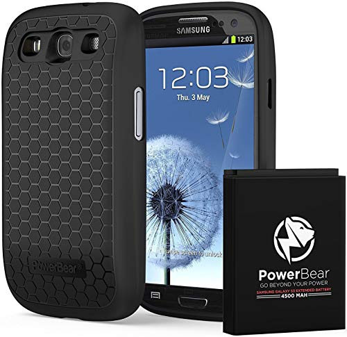 PowerBear Samsung Galaxy S3 Extended Battery [4500 mAh] with Cover & Case [210% Battery] (Best Cover For Galaxy S3)