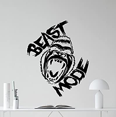 Beast Mode Gym Motivational Wall Decal Gorilla Monkey Bodybuilding Gym Decor Fitness Vinyl Sticker Fitness Motivation Sports Wellness Gym Wall Art Design Gym Quote Wall Art Mural 52fit