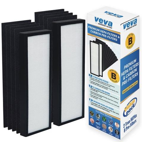 VEVA Premium 2 HEPA Filters and 8 Pack of Pre-Filters compatible with Air Purifier Models AC4825, 4800, 4900 and Replacement Filter B by VEVA