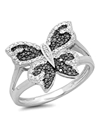 0.25 Carat (ctw) Sterling Silver Round Black And White Diamond Ladies Butterfly Right Hand Ring 1/4 CT