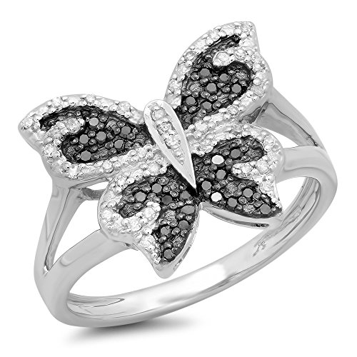 Black Diamond Butterfly Ring - 2