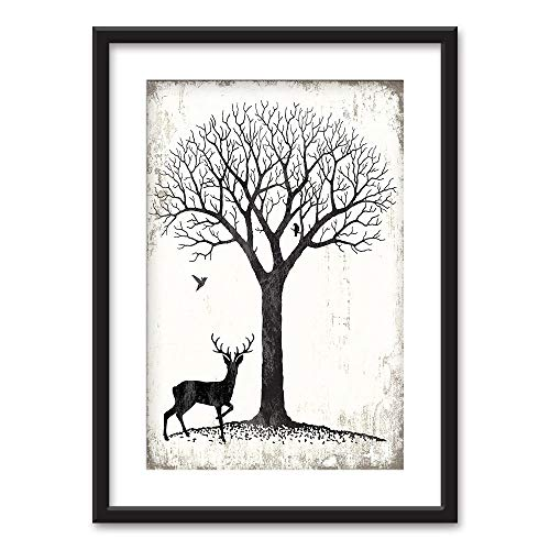 wall26 - Framed Wall Art - Deer Under a Tree Birds in Black White - Black Picture Frames White Matting - 23x31 inches (Black Pictures Bird White And)