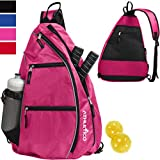 Athletico Sling Bag - Crossbody Backpack for Pickleball, Tennis, Racketball, and Travel for Men and Women (Pink)
