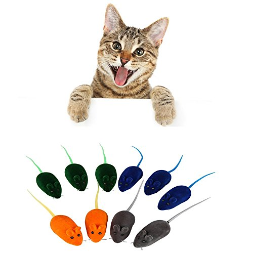 (PanDaDa Squeaky Mice Cat Toys, Pet Cat Soft Rubber Mouse Toy Interactive Squeaky Toy Kitten Fun Toy Squeak Noise Lovely Rat Mice False Mouse Bauble Playing Toy 10PCS Multi-Colors)