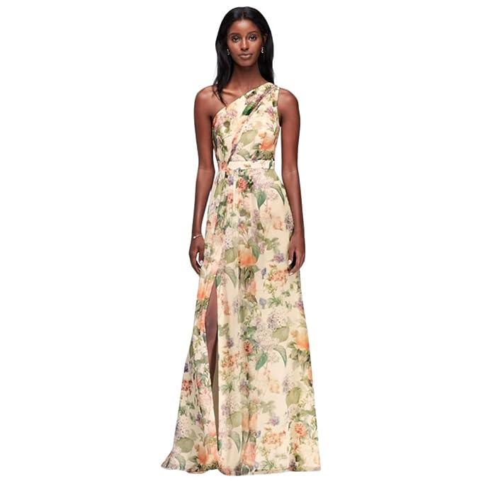 534c25e1a34 David s Bridal Long One Shoulder Printed Chiffon Bridesmaid Dress Style  F18055P at Amazon Women s Clothing store
