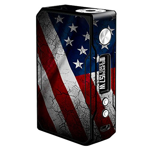 Skin Decal Vinyl Wrap for Voopoo Drag 157W TC Resin/Reg. Vape Mod stickers skins cover/American Flag distressed ()