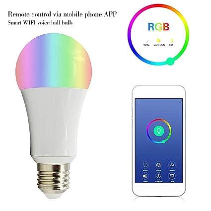 Bombilla LED inteligente Bombillas LED multicolores Luz de día y noche controlada por teléfono inteligente,