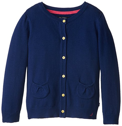 (Nautica Little Girls' Jersey Cardigan Sweater with Pockets, Medium Navy, 4)